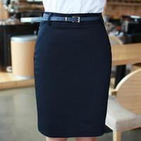 Wholesale Summer Skirts For Ladies - Wholesale-Pencil Skirts for Ladies Work Wear 2016 Summer Women's New Plus size S-2XLZipper Closed Formal Saias Short Black Office Skirts
