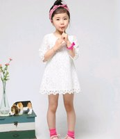 Wholesale Children Korean Dresses - Korean Mother Daughter Matching Dress 2016 Summer Lace Half Sleeve Dress Children Princess Dresses for Big girls Size 14 15 16