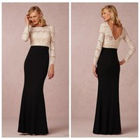 Wholesale Shaping Long Skirt - Modest White Lace Top Long Sleeves Mermaid Evening Dresses Black Skirt Floor Length 2016 V-Shape Back Prom Dress