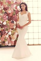 Wholesale Mikaella Wedding Dresses - Spaghetti Straps Trumpet Mermaid Satin Sweetheart Neckline Florals Applique 2015 Mikaella 1906 Bridal Dresses Wedding Gowns F06