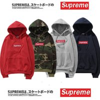 Wholesale Cheap Windbreaker - 2018 Cheap Sup Hoodies With logo Box Hip Hop Sweatershirt with Cotton High Quality Pullover Oversize For Men Women Outdoor Wear Top Quality