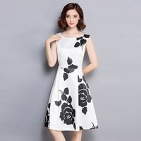 2016 Новая мода Sexy Women Dress Party Club Evening Close-fitting Slim Lady Casual Rose Print Без рукавов One Piece Party A-line Белое платье