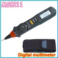 Wholesale Pen Type Digital Multimeter - Wholesale-1pcs Professional Mastech MS8211 Pen-type Digital Multimeter Non-contact AC Voltage Detector Auto-ranging Test Clip wholesale