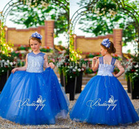 Wholesale Kids Corsets Dresses - 2017 New Pretty Sequins Beaded Girls Pageant Dresses Crew Neck Corset Lace Up Back Ruffles Tulle Kids Party Wear