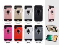 Wholesale Apple Rugged Protection - Soft TPU+PC Defender Case for Iphone X with Magentic Carriage Bracket Mobile Phone Case Cover with Ring Rugged Protection for Note 8
