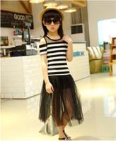 Wholesale Girl S Children Shorts Skirt - Summer Fashion Children Girls Shoulder Off T-shirt Clothes Stripe Top +Lace Skirt Clothes Suits 2 pcs 4 s l