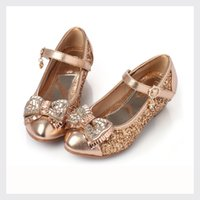 Wholesale Child Girl Summer Bow Shoes - Children Shoes New Style Golden Silver Pink Bow Crystal Shining Sequins Girl Low Heels PU Leather Kids Girls Princess Shoes