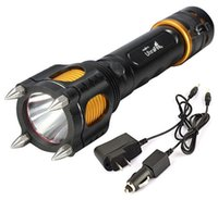 Wholesale ultrafire flashlight online - Free Epacket Lumen Cree XML XM L T6 Led Flashlight Torch light tactical Lamps With Cutting knife Alarm Car Charger AC Charger