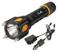 automóvil al por mayor-Gratis Epacket 2000 Lumen Cree XML XM-L T6 Linterna Led Linterna táctica Lámparas con Cuchillo de corte Alarma + Cargador de coche + Cargador de CA