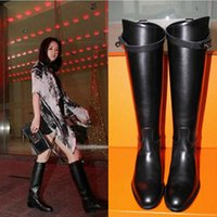 Wholesale Brown Leather Knee High Boot - Europe and America Luxury Brand Buckle Martin Boots Genuine Leather Kelly Women Straight Boots Knight Chaussure Mujer Plus Size 41 42