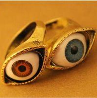 venda de anel azul venda por atacado-Anéis de noivado Venda Quente Do Vintage Retro Europa Punk Gótico Exagerado Vampiro Azul Marrom Cor Anéis Para Os Olhos