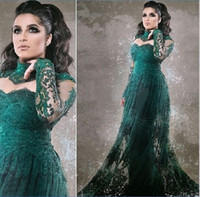 Wholesale illusion dinner dresses - Dark Green Long Sleeve Prom Gowns 2016 High Neck Appliques Lace Vintage Women Dinner Dress for Formal Party Evening Dresses Plus Size Arabic