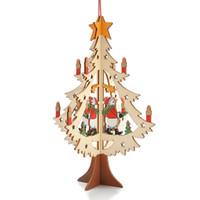 ingrosso ornamenti carini-Simpatico ornamento in legno intagliato a forma di ciondolo stampa a colori per la decorazione del mercato a casa alce orso albero di natale pendenti 4 9zy B R