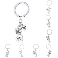 Wholesale Happy Promotions - I Love You Happy Birthday Dad Mon Grandma Grandpa Son Daughter Sister Heart Charm Keychain key Rings Fashion Jewelry Gift Drop Shipping