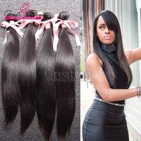 bakire indian saç düz 4pcs toptan satış-4 adet / grup Virgin Hint Brezilyalı İşlenmemiş İnsan Saç Uzantıları İpeksi Düz Greatremy Boyanabilir İNSAN SAÇ WEAVE Çift Atkı Demetleri