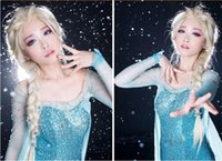 Wholesale Hot Cheap Wigs - Hot Princess Frozen Snow Queen Elsa Anna Weaving Cosplay Curly Wig Children Adult Snow Queen Gold Long wigs cheap net or petal intranet