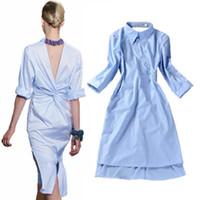 Wholesale Women Open Shirts - HIGH QUALITY Runway Fashion New Women's Novelty Back V Open Asymmetrical Designer Stripe Blue Shirt Dress