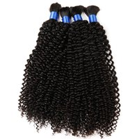 Wholesale Mixed Curly Hair Colours - DS hair products mongolian human afro kinky curly bulk hair extension 4pcs lot natural colour human braiding hair