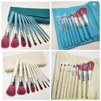 Wholesale leather bag handles wholesale - 9 pcs set Makeup Brushes Set Soft Synthetic Hair Wood Handle Classic Cosmetic Brush Set Face Makeup eyeshsadow with Leather Bag KKA3055
