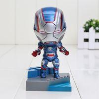 Wholesale Iron Man Cute Model - Cute 10cm Nendoroid Iron Man The Patriot Iron Patriot Hero's Edition Boxed PVC Action Figure Model Toy Gift