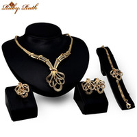 Wholesale Earing Set Crystal - Ruby.Ruth jewelry sets dubai sieraden women 18k gold plated wholesale crystal wedding bridal african necklace earing fashion jewellery set