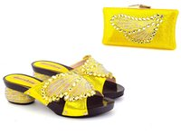 Wholesale Italian Gold Set - African PU leather shoes and bag set fast free shipping 4.5 cm gold Italian shoes and bags matching set AB5-2