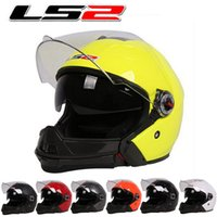 Wholesale Modular Helmets Ls2 - Dual lens LS2 combination motorcycle helmet OF578 electric bicycle motorbike 3 4 helmets four Seasons made of ABS Size L XL
