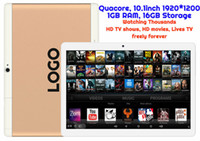 Wholesale Tablet Gps Android 3g Tv - 1pcs Custom Made Android Tablet TV watching Thousands of HD Movies and HD TV shows MTK Quadcore 1GB 16GB 10.1inch HD 3G WIFI Bluetooth GPS