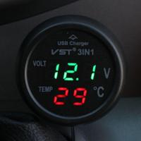 voltímetro iphone venda por atacado-3 em 1 Digital LED carro Voltímetro Termômetro Auto Car USB Charger 12 V / 24 V Medidor de Temperatura Voltímetro Isqueiro
