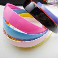 Wholesale Wide Bohemian Headband - Hot Sale 2.5cm Wide Hairbands Cute Girl Candy Color Plastic Headbands Wholesale Head Accessories Women Hair Jewelry Mix Color 12PCS