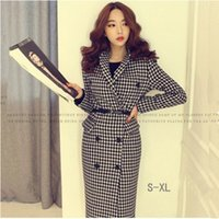 Wholesale Trench Wool Ladies Dress Coats - 2016 New Design Women Wool Coat Turn-down Collar Plover Case Double-breasted Trench Coat Office Fashion Lady Blends dress N02