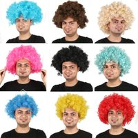 Wholesale Cosplay Multicolour Wigs - Fans Exploded Head cosplay Afro wig Party Wig Oversized Multicolour synthetic wigs For Ball Fans Festival Carnival wigs IC686