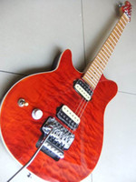 Wholesale Orange Left Handed Electric Guitar - Wholesale-New arrival Chinese 6 string musicman electric guitar with floyd rose tremolo system left handed In Orange burst quality 110405