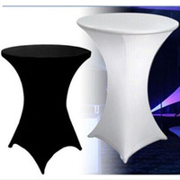 Wholesale Spandex White Table Covers - 10PCS Spandex table cloth Lycra 80cm diameter cocktail stretch table cover wedding party event