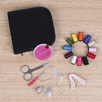 Wholesale Tape Free Box - Portable Sewing Kit Box Threads Needles Scissor Tape Measure Hand Sewing High Quality Sewing Tools Black Box Good Quality Free Shipping