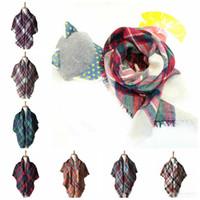 Wholesale Winter Muffler Kids - 100*100cm Plaid Scarves Baby Striped Tassels Scarf Kids Tartan Scarf Wraps Neckerchief Winter Shawl Ring Muffler Blankets 100pcs OOA2983