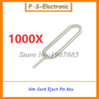 Wholesale Sim Tray Ejector - 1000 Pcs lot Sim Card Tray Remover Eject Ejector Pin Key open Tool for iPhone 4 4s 5 5s 5c 6 6s plus for iPad for SamSung xiaomi