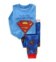 Wholesale Kids Shirts Spider - Free shipping hot Kids Pajama Sets Clothes boys girls sleepwear pyjamas Spider-Man Batman superman t shirt pants children 04