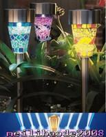 Wholesale Wholesale Solar Lamp Post Lights - Solar Powered Lamp Solar Mosaic Border Garden Post Lights Garden Decoration Stake Light Solar Led Light Pathway Lawn Light Christmas Gifts