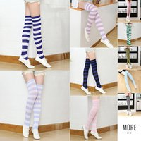 Wholesale Thigh High Socks Wholesalers - Striped Knee High Socks for Girls Adult Japanese Style Zebra Thigh High Socks Sweet Spring Summer Stockings 21 Colors Christmas Halloween