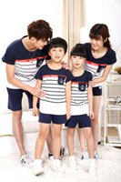 Wholesale clothes for father son - fashion Anchors print stripe cotton t shirt summer matching family clothing for mother daughter & father son family look outfits