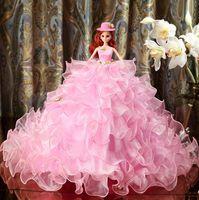 Wholesale High End Dolls - Wedding dress barbie doll high-end wedding pink princess bride edge Exquisite Handmade birthday gift free shipping HW014