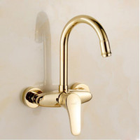 Wholesale Contemporary Gold Sink Faucets - Kitchen Faucet Bathroom Vessel Sink Hot Cold Water Washing Sprayer Single Handle Wall Mounted Gold Finish Solid Brass