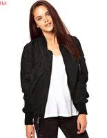 Wholesale Ladies Baseball Jackets - Women Bomber Jacket 2016 Autumn Spring Ladies Jackets Tops Solid Color Zipper Baseball Coats Slim Sport Jackets Women Black Green SV027216