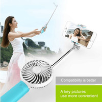 auto temporizador monopod portátil al por mayor-Hot Fashion Mini Selfie Stick con ventilador portátil con cable Selfie extensible Monopod Mobile Power Bank 3 en 1 multifunción Autodisparador USB Fan