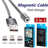 Micro USB Magnetic Cables 3 em 1 Micro Lightning Data Sync Charger Adapter para Android Huawei Samsung S8 Phones Tablet