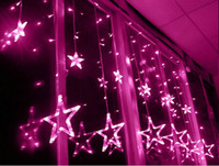 Wholesale Christmas Window Star Lights - 2M 138Leds Star LED String Fairy light curtain icicle lamp Wedding Christmas Xmas Party Window Decor Lamps 8 Modes 12 drop lines