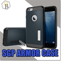 Wholesale Shell Holder Plastic - SGP Amor Case Hard Shell For Samsung S6 S7 Edge Iphone 7 Plus Stand Holder Tough Strong Note 5 TPU PC Back Cover