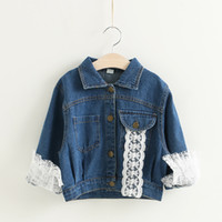 Wholesale Jeans Cardigan Wholesale - New Fashion Girls Outwear Denim Coats Children Jeans Coats Girl's Long Sleeve jackets Girl Coats Back Letter Tops Buttons Cardigan A7453