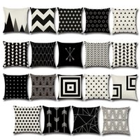 Wholesale Euro Case - Pillow Case Black and White Pattern Pillowcase Cotton Linen Printed 18x18 Inches Geometry Euro Pillow Covers c186